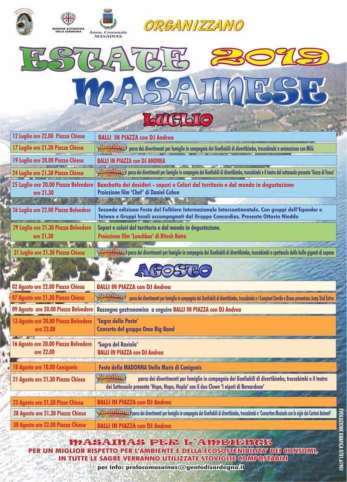 Manifesto eventi Estate Masainese 2019