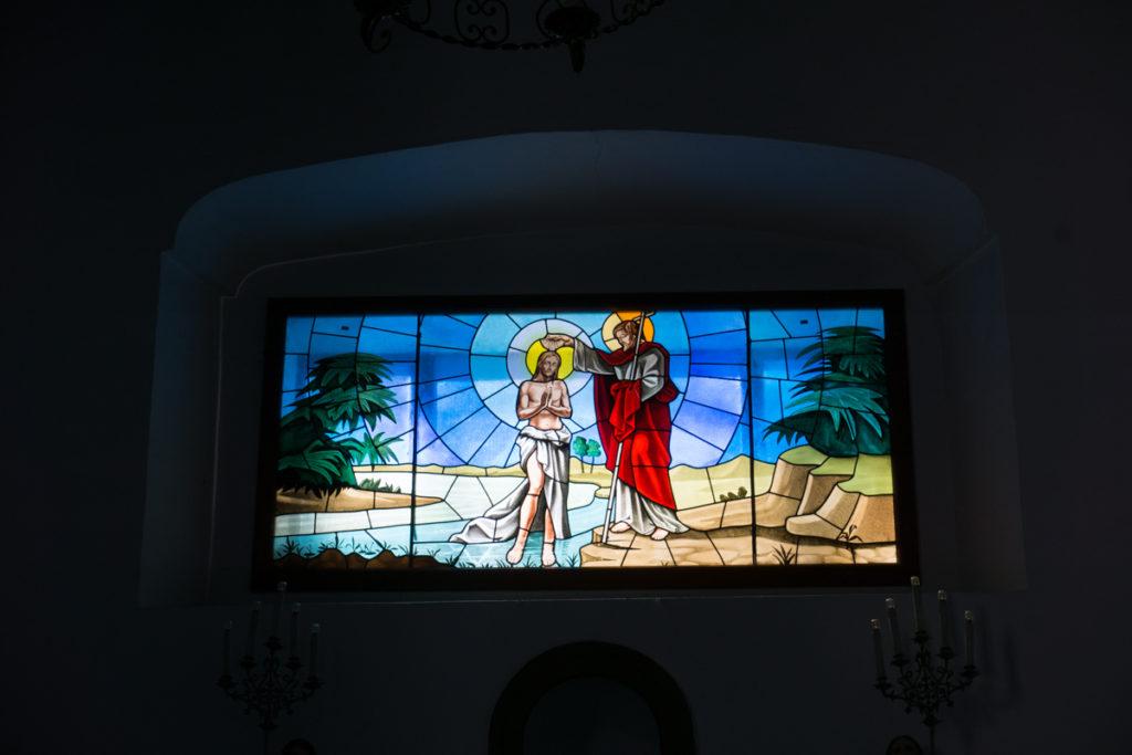 Dettaglio vetrate decorate Chiesa San Giovanni Battista Masainas
